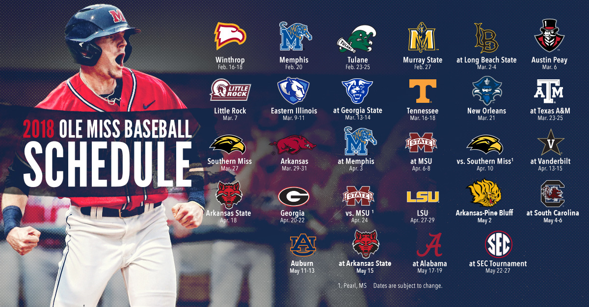 Ole Miss Schedule 2019 Ole Miss Baseball Announces 2018 Schedule   Ole Miss Athletics