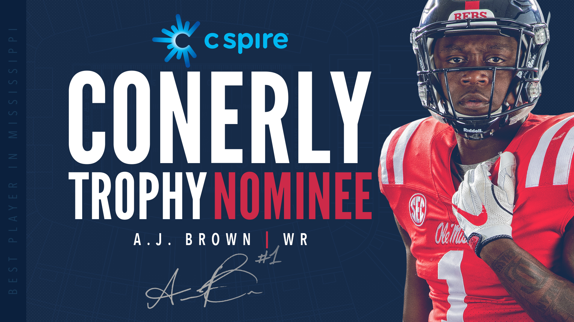 A J  Brown Nominated for 2018 C Spire Conerly Trophy - Ole Miss