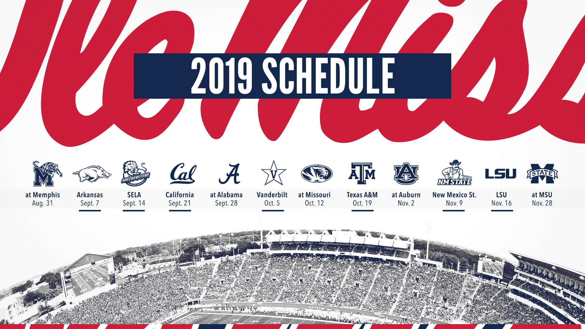 Ole Miss Academic Calendar.Football Releases 2019 Schedule Ole Miss Athletics