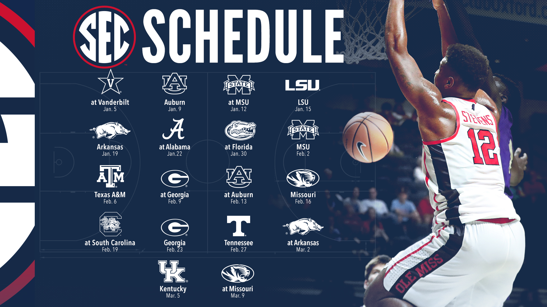 Television Schedule Set For Sec Men S Hoops Ole Miss Athletics